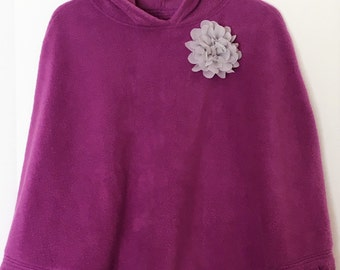 Poncho ( Childs  size 6 )  Bright Purple Fleece