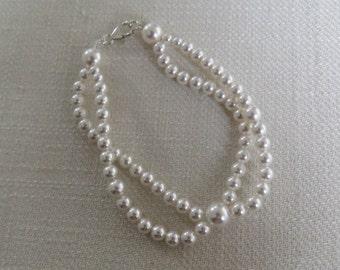 Swarovski White Pearl Bracelet - Double Strand