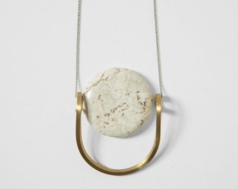 White Jasper with Concentric Brass