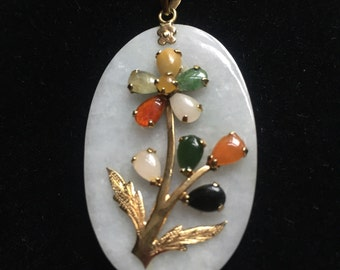 Vintage White Jade and Multicolored  Jade Stone Pendant with 14KT gold trim