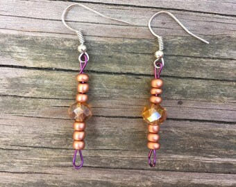 Glass Beaded Earrings, Gold, Orange and Purple