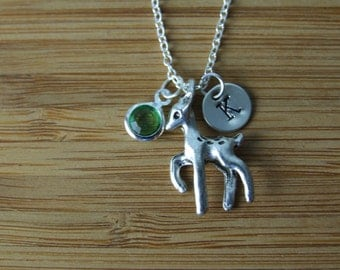 Reindeer Necklace, Personalized Necklace, Hand Stamped Initial, Birthstone Necklace, Monogram, Keepsake