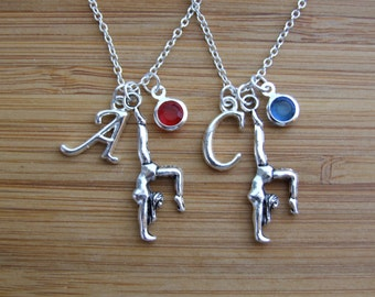 Gymnast Necklace, Set of TWO Handstand Personalized Necklace, Yoga Handstand Birthstone Necklace, Gymnastics Lover Gift