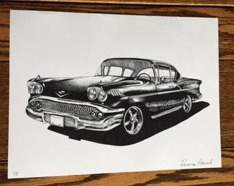 Hand Drawn Black & White 1958 Chevy Impala