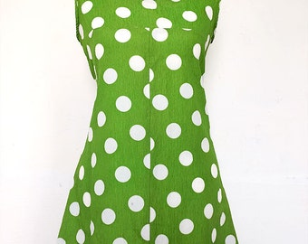 "60s TWIGGY dress | MOD | 60s MINI dress | spotted | 44 ""waist"