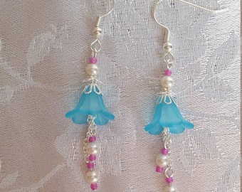 Turquoise Flower Dangle Earrings with White Swarovski Pearls Silver Pink
