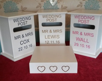 WEDDING POSTBOX and matching wedding cake stand PERSONALISED wedding table centrepiece choice of colours handmade to order pro engraving