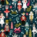 Nutcracker Ballet Fabric by the Yard. Quilting Cotton or Jersey. Christmas Holiday Winter XMas Ballerina Mice Music Quilt Baby Tree Navy