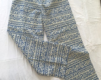 VINTAGE Early  1970s Hand Screen Printed  WOMENS PANTS Medium