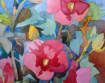 Hibiscus, 9x12 inches original watercolor