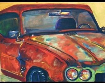 Vintage car painting original canvas