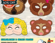 60% OFF SALE Goldilocks and the Three Bears Printable Masks, Papa Bear, Mama Bear, Little Bear, mask, template, DIY, pdf, instant download