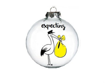 Expecting Ornament, We're Expecting Christmas Ornament, Expecting Baby Ornament, Pregnant Ornament, Custom Christmas Ornament