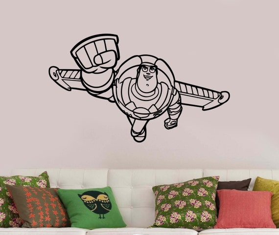 Toy story decal buzz lightyear vinyl sticker disney wall art for Buzz lightyear wall mural