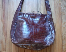 Vintage Maroon Leather Mock Croc Carlos Falchi Oversized Tote