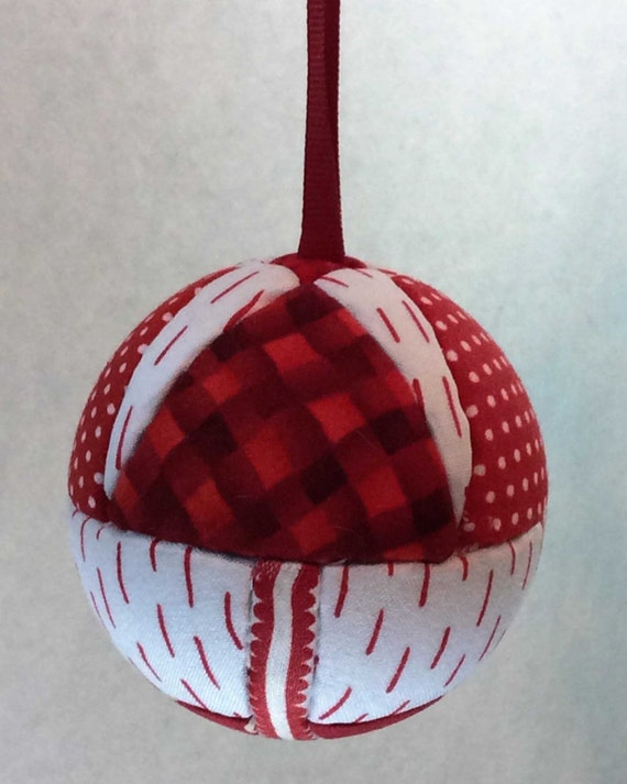 130 Four Trees - Red and White Christmas ornament from a quilt pattern