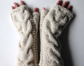 Hand Knitted Cable Fingerless Gloves. Ivory or 44 Different Colors. Arm Warmers with Bulky Braids. Warm Accessory for Women and Teens.