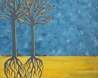 Two Trees Heart Roots Painting, Blue and Yellow Wall Art, Fall Love, Autumn Family Tree Giclee
