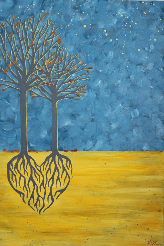 Two Trees Heart Roots Painting Blue And Yellow Wall Art Fall