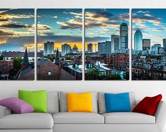 Large Boston City Canvas Wall Art Set Boston Canvas Art Boston Print Boston Wall Decor Boston Poster Boston Photo Massachusetts Wall Decor