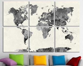 World map wall art etsy 6 multi panel large world map wall art canvas print world map wall decor world map gumiabroncs Gallery