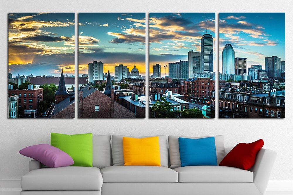 Large Boston City Canvas Wall Art Set Boston Canvas Art Boston