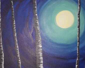 Moon Painting Night Painting Birch Trees Painting Acrylic Painting Canvas Painting Beautiful Awesome Art