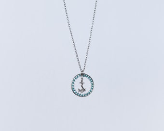 Handmade long Anchor Necklace, with sterling silver charm and turquoise bead accent