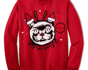 Weird Crazy Cat Christmas Sweater Sweatshirt. Christmas Gift. Ugly Christmas Sweater. Ugly Xmas Sweater.