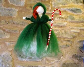 Needle felted elf Wool felted kindness elf Christmas elf waldorf felted pixie woodland druid elf kendal fairies nature table Christmas elf