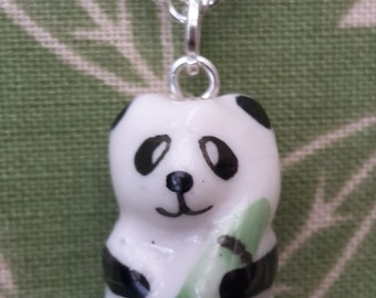 Panda Ceramic Pendant and Necklace, Single.