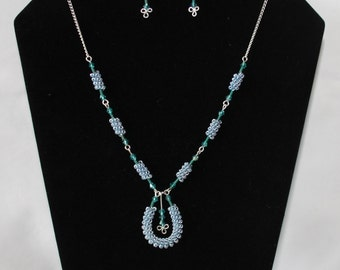 Blue Green Pendant Necklace, Blue Beads, Silver Plated Wire, Coiled, Christmas Gift, Birthday Gift, Matching Earrings, Christmas Present.