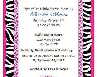 Hot Pink and Zebra Baby Shower Invitation