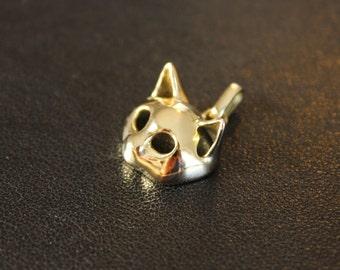Cat Mask Pendant 14K Gold Kitty Charm jewelry 14 carat handmade