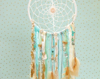 Dream Catcher, Boho Dreamcatchers, bohemian, aqua, beige, gold, nursery décor, crystal metallic materials, wall hanging, bead strands