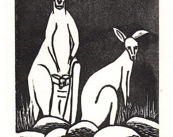 Linocut Art Card - Kangaroos