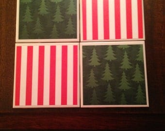 Christmas prints tile coaster set