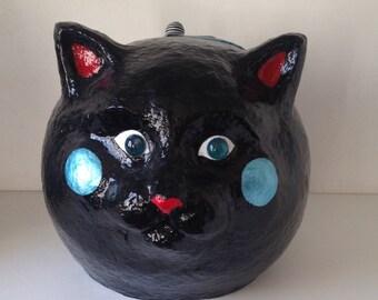 Black Cat design paper mache craft box