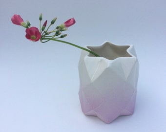 Geometric, faceted ceramic ombre pot - small.