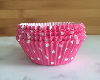 Hot Pink & White Polka Dot Cupcake Liners, Standard Sized, Baking Cups (50)
