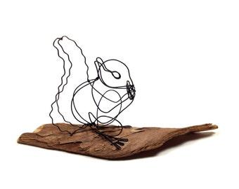 Squirrel Eating Nut - wire animal sculpture