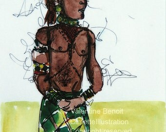 Original drawing in watercolor and ink of an African local green outfit, he is shirtless and wearing a hat ethnic, green background