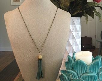 Suade Tassel Necklace
