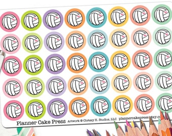 40 Colorful Volleyball Stickers | Volleyball Planner Stickers with Pink Heart | Round Circle Stickers | Fits Erin Condren and Other Planners