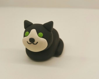 Black and White Loafing Kitty Figurine