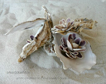 Oyster shells, artistic composition of shells, marine furnishing accessories, made in Italy, Sardinia