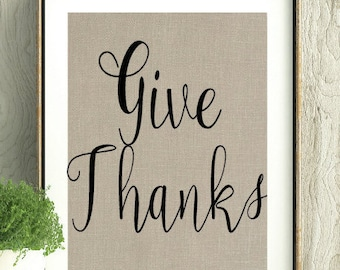 Give Thanks, Fall Decor, Thanksgiving Decor,Fall Art, Thanksgiving Wall Art, Fall Wall Hanging, Give Thanks Print,Simple Fall Decor,Wall Art