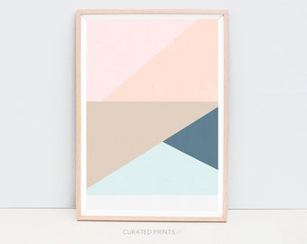Downloadable Geometric Wall Art, Scandi Poster, Printable Geometric Art, Pink, Peach, Navy Art Printable Scandinavian Poster, Printable Gift