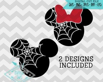 Mickey Minnie Spiderweb Heads - SVG, Disney, Digital file, Silhouette Studio, DXF, PNG, Cricut Cutting, Vinyl, Web, Halloween, Mouse, Spider