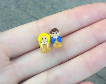 Stranger Things Eleven Polymer Clay Stud Earrings, Unique Stranger Things Gift, Eleven Dress Earrings
